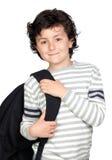Bello bambino dell'allievo con lo zaino pesante Immagini Stock Libere da Diritti