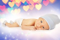 Bello bambino sopra una priorità bassa astratta Fotografia Stock Libera da Diritti