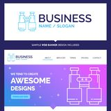 Bello binocolo di marca commerciale di concetto di affari, ritrovamento, ricerca illustrazione di stock
