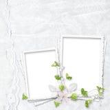 Bello blocco per grafici bianco per due foto Fotografia Stock Libera da Diritti