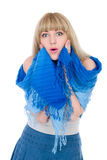 Bello blonde con le mani sulle guancie Fotografie Stock