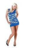 Bello blonde sexy in vestito blu Fotografia Stock