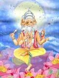 Bello Brahma che si siede sul fiore di loto illustrazione di stock