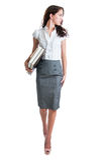 Bello bussinesswoman che esamina la sua spalla Immagini Stock Libere da Diritti