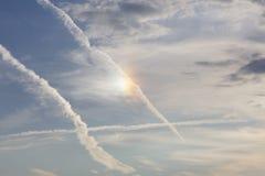 Bello cane di Sun che splende nel cielo fotografie stock libere da diritti