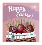 Bello canestro con le uova di Pasqua sull'erba Illustrazione di vettore Bella iscrizione Pasqua felice Immagine Stock