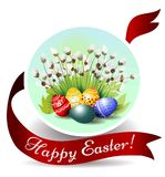 Bello canestro con le uova di Pasqua sull'erba Illustrazione di vettore Bella iscrizione Pasqua felice Immagini Stock Libere da Diritti