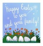 Bello canestro con le uova di Pasqua sull'erba Illustrazione di vettore Bella iscrizione Pasqua felice Fotografia Stock