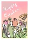 Bello canestro con le uova di Pasqua sull'erba Illustrazione di vettore Bella iscrizione Pasqua felice Immagine Stock Libera da Diritti