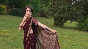 Bello castana in saree indiano del vestito in parco archivi video