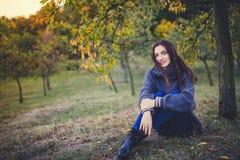 Bello castana in un maglione che si siede sotto l'albero in un parco di autunno immagini stock libere da diritti