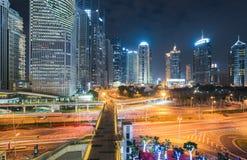 Bello centro finanziario di Schang-Hai alla notte Fotografia Stock Libera da Diritti