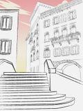 Bello centro storico della città Vecchia città royalty illustrazione gratis