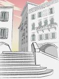 Bello centro storico della città Vecchia città illustrazione vettoriale