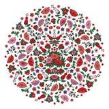 Bello cerchio floreale riempito di rosa di contorno e papaveri e tulipani rossi sui precedenti trasparenti illustrazione vettoriale