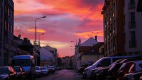 Bello cielo di sera nel centro di Kladno Fotografia Stock