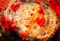 Bello collage con i cuori e le note di musica nello spazio cosmico, symbolizining l'amore alla musica Immagini Stock Libere da Diritti