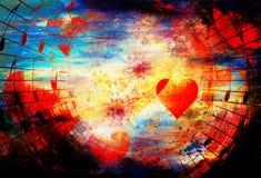 Bello collage con i cuori e le note di musica, symbolizining l'amore alla musica illustrazione vettoriale
