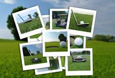 Bello collage delle foto di golf in vario formato immagini stock