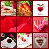 Bello collage di giorno di biglietti di S. Valentino Fotografie Stock Libere da Diritti
