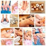 Bello collage di massaggio della stazione termale. Fotografia Stock
