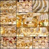 Bello collage dorato dei gioielli Immagine Stock Libera da Diritti