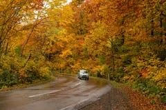 Bello colore di autunno alla linea strada dell'oro di Hakkoda Immagine Stock