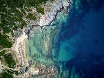 Bello colpo del fuco di vista aerea della cima della spiaggia fotografia stock