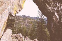 Bello colpo di alte montagne rocciose e di una foresta fotografia stock