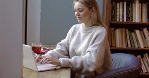 bello computer portatile usando donna stock footage