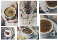 Bello concetto della casa del collage con la tazza saporita del caffè espresso del caffè dentro Fotografia Stock