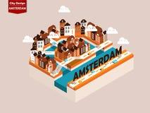 Bello concetto di progetto isometrico di stile della città di Amsterdam Immagini Stock Libere da Diritti