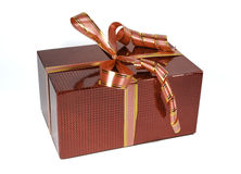 Bello contenitore di regalo olografico rosso con gli archi Fotografia Stock