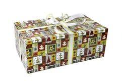 Bello contenitore di regalo variopinto con gli archi Fotografia Stock
