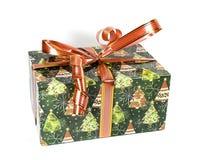 Bello contenitore di regalo verde con gli archi Fotografia Stock Libera da Diritti