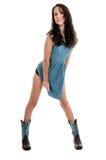 Bello cowgirl della donna in un vestito Immagini Stock