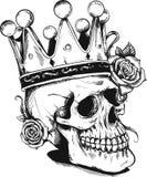 Bello cranio romantico con la corona e la corona elegante dei fiori Inchiostro sul fondo invecchiato dell'annata della carta Anna illustrazione vettoriale