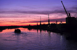Bello crepuscolo variopinto su un fiume con le siluette della chiatta e delle gru Immagine Stock