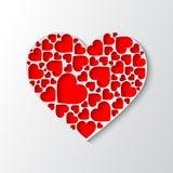 Bello cuore del Libro Bianco con i cuori rossi tagliati Fotografia Stock