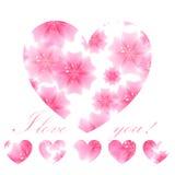 Bello cuore fiorito rosa su fondo bianco Cartolina d'auguri illustrazione di stock