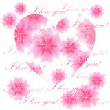 Bello cuore fiorito su fondo bianco Cartolina d'auguri Vec Fotografia Stock