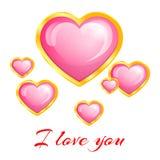 Bello cuore rosa nel telaio dell'oro Immagine Stock Libera da Diritti