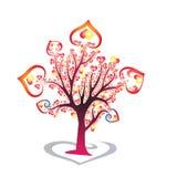 Bello, cuore rosso & giallo colourful dell'albero del cuore, tre e, cuori illustrazione di stock