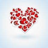 Bello cuore rosso su Valentine Card Immagine Stock Libera da Diritti