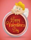 Bello cupido biondo dietro il bottone della festa del biglietto di S. Valentino, illustrazione di vettore Fotografia Stock Libera da Diritti