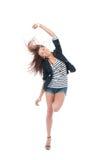Bello dancing completo della donna del brunette del corpo Fotografia Stock
