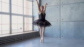 Bello dancing espressivo del ballerino di bellet allo studio Tiro di foto del fumo Ballerina graziosa della bambina in vestito ro archivi video
