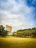 Bello del giardino nel fondo del cielo blu, il museo famoso del museo del tè del tè verde nell'isola di Jeju, Corea del Sud Fotografia Stock Libera da Diritti