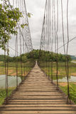Bello del ponte di corda nel parco nazionale di Kaeng Krachan, Phetcha Fotografie Stock Libere da Diritti