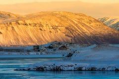 Bello della mattina di alba in terra dell'inverno dell'Islanda Fotografia Stock Libera da Diritti